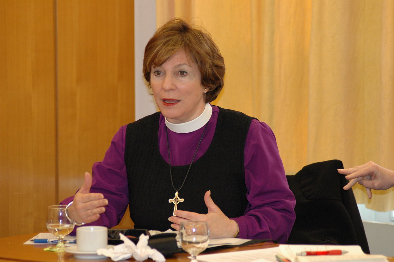 Bishop Claire Burkat, ELCA Southeastern Pennsylvania Synod, asks a question during discussion Feb. 15 in Geneva.