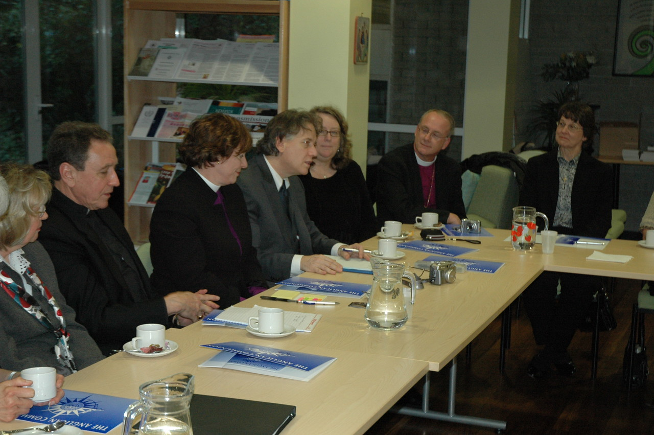 Members of the 2010 ELCA Ecumenical Journey delegation met Feb. 4 with leaders of the Anglican Consultative Council in London.  Speaking is Dr. Rocky Piro, Seattle, president of the Lutheran Ecumenical Representatives Network.