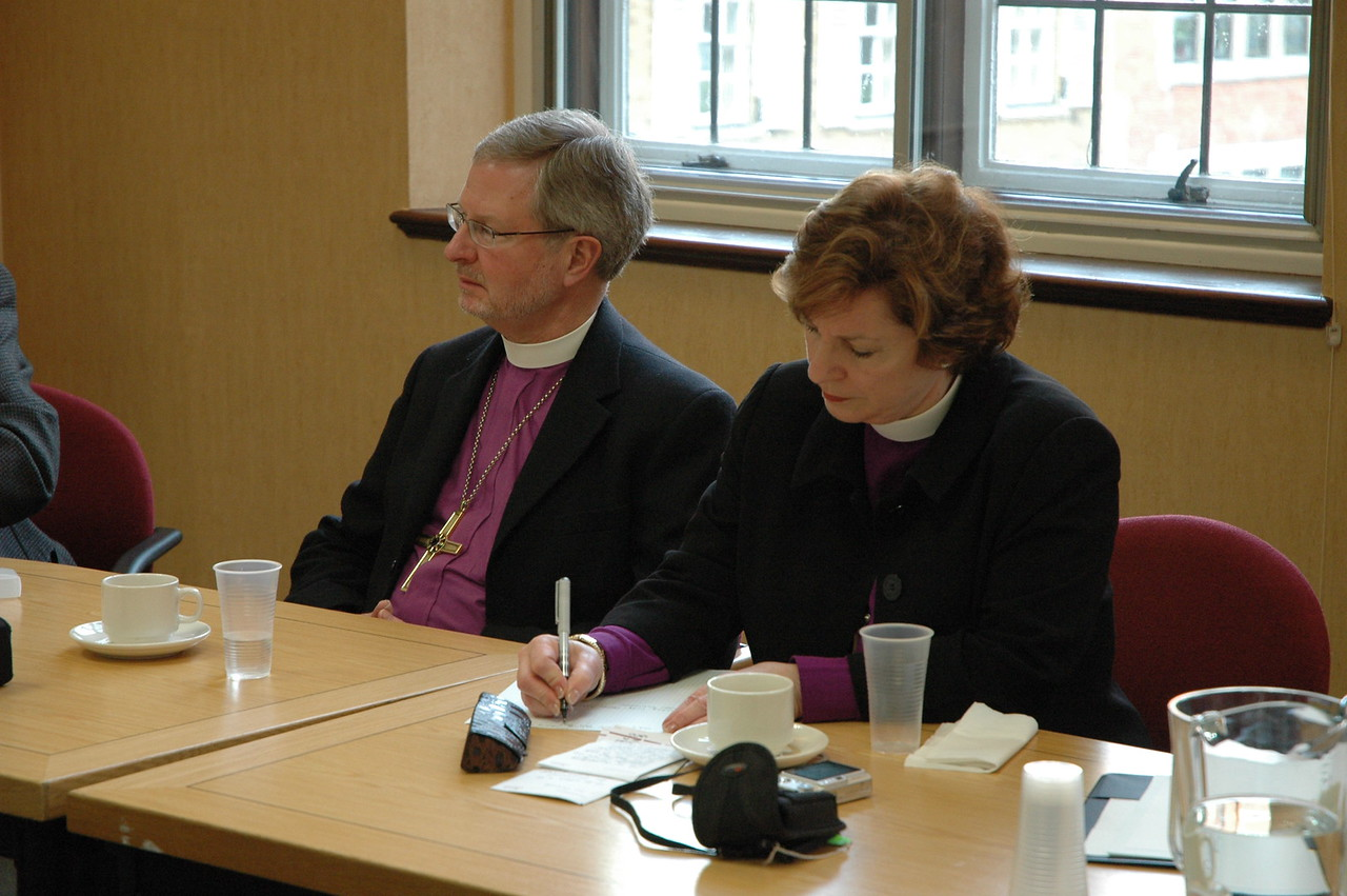 Two members of the ELCA delegation on the 2010 Ecumenical Journey are, left, Bishop Robert Hofstad, ELCA Southwestern Washington Synod and Bishop Claire Burkat, ELCA Southeastern Pennsylvania Synod.