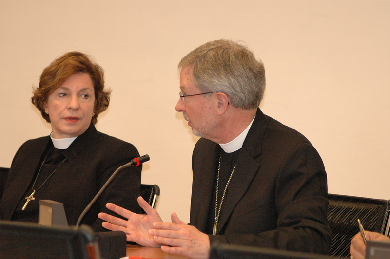 Bishop Rob Hofstad, ELCA Southweatern Washington Synod, makes a point in discussion with Cardinal Kasper Feb. 12 in Rome.  Next to him is Bishop Claire Burkat, ELCA Southeastern Pennsylvania Synod.