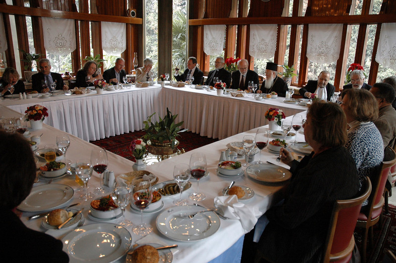 The Ecumenical Patriarch Bartholomew I, seated at the head of the table to the right, hosted the ELCA delegation at a farewell luncehon Feb. 9 in Istanbul.