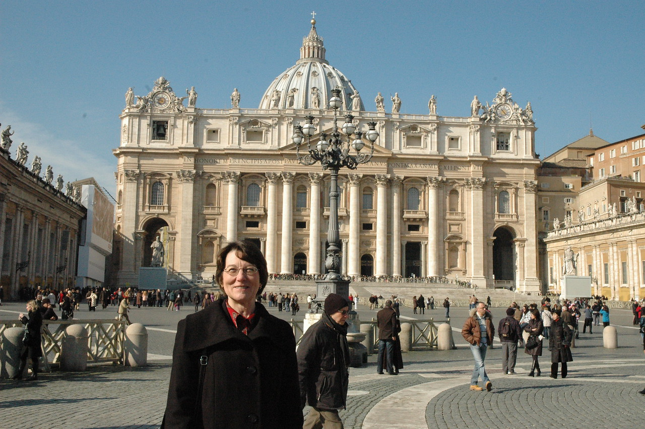 Mitzi Budde, Virginia Theological Seminary, Alexandria, and Lutheran co-chair, Lutheran-Episcopal Coordinating Committee, at St. Peter's Basilica, Vatican City.