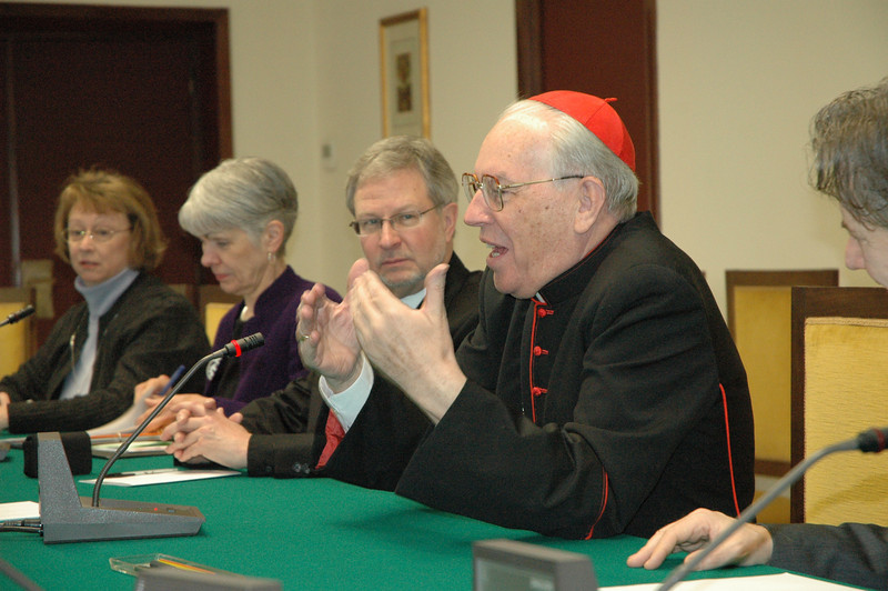 Cardinal Giaovanni Re, right, prefect, Congregation for Bishops, The Vatican, addresses the ELCA delegation Feb. 13 in Rome.  Immediately to Cardinal Re's right is Bishop Rob Hofstad, ELCA Southwestern Washington Synod.