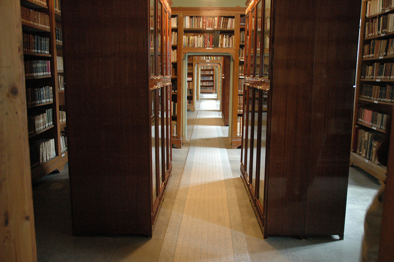 The bookstacks at the library of the Theological School of  Halki (Turkey).