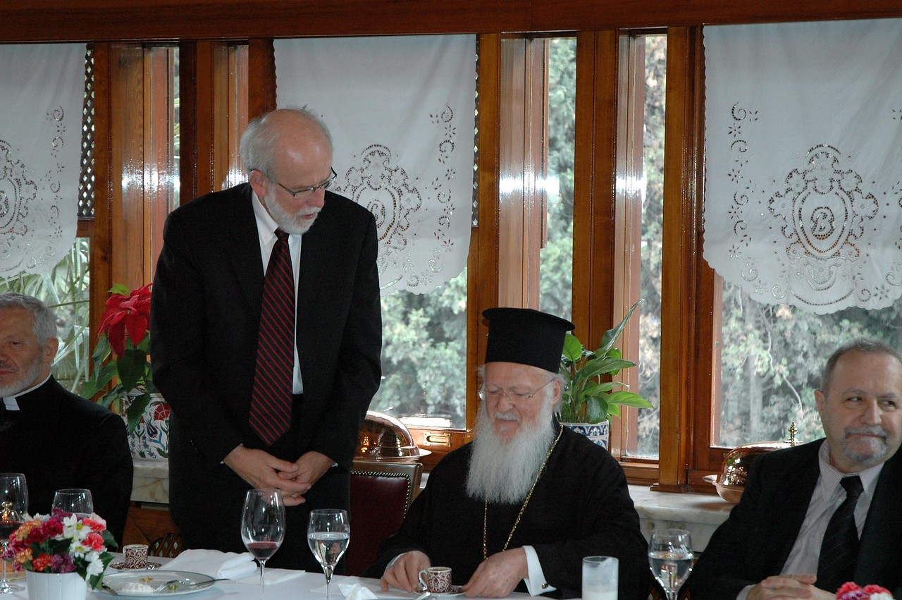 ELCA Presiding Bishop and LWF President Mark Hanson, left, addresses the Ecumenical Patriarch Bartholomew I, at a Feb. 9 farewell luncheon for the ELCA delegation, hosted by the patriarch.