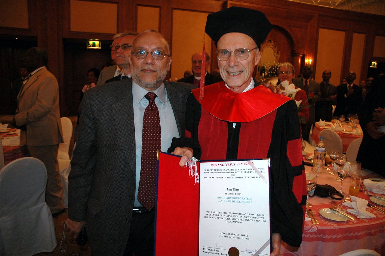 Gaylord Thomas, left, ELCA Global Mission, has worked with the Rev. Loren Bliese, right, for many years while Bliese was serving as a missionary in Ethiopia.  Bliese was honored by the EECMY's Mekane Yesus Seminary with an honoary doctorate Jan. 18 in Addis Ababa.