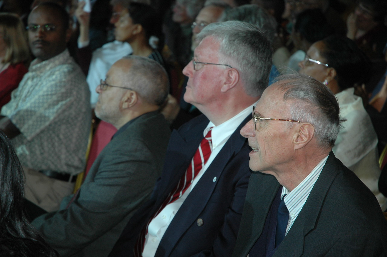 ELCA personnel were present at the Jan. 18 worship service in Addis Ababa, marking the 50th anniversary of the EECMY.  They are, from left, Gaylord Thomas, ELCA Global Mission, The Rev. John Halvorson, and the Rev. Loren Bliese, who served as a missionary to Ethiopia 44 years before retiring.  Bliese is now a part-time volunteer missionary to Ethiopia.