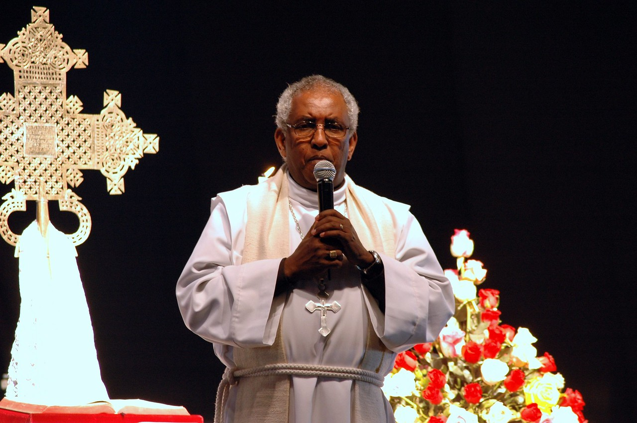 The Rev. Itafa Gobena, EECMY president, welcomed some 2,000 worshippers who attended the Jan. 18 service in Addis Ababa celebrating EECMY's 50th anniversary.