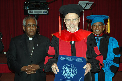 The Rev. Loren Bliese, ELCA pastor and longtime missionary to Ethiopia, was given an honorary Doctor of Language Development by the Mekane Yesus Seminary of the EECMY, Jan. 18 in Addis Ababa.  At left is the Rev. Itafa Gobena, EECMY president.