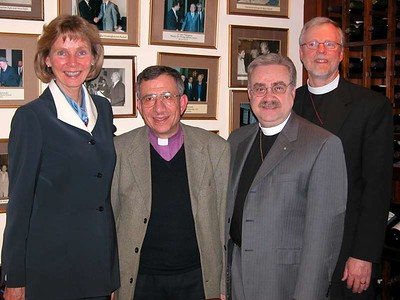 Key leaders involved in the Jan. 9-16, 2004, Middle East visit met together in Jerusalem Jan. 10. They are, from left, U.S. Rep. Lois Capps (D-Calif.); Bishop Munib Younan, Evangelical Lutheran Church in Jordan (and Palestine); Bishop Dean Nelson, ELCA Southwest California Synod; and Bishop Murray Finck, ELCA Pacifica Synod.