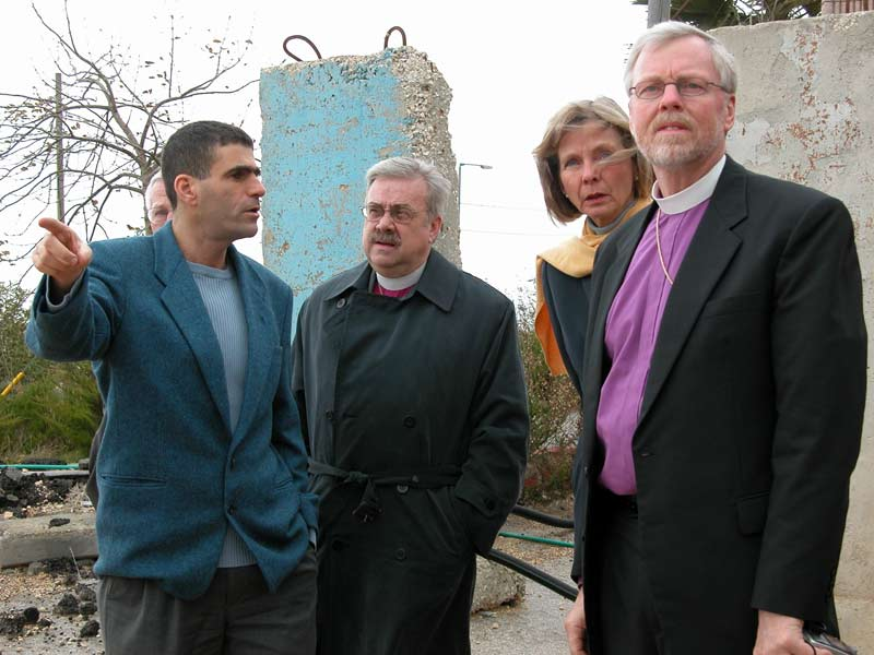 From left, former Member of the Israeli Knesset Mossi Raz, accompanies Bishop Dean Nelson, ELCA Southwest California Synod, U.S. Rep. Lois Capps (D-Calif.) and Bishop Murray Finck, ELCA Pacifica Synod, on a Jan. 12 visit to Israeli settlements and illegal outposts in the West Bank. Capps and the bishops visited the Middle East on a fact-finding trip Jan. 9-16.