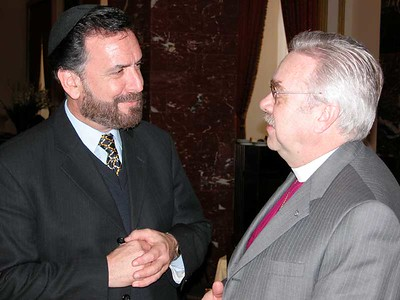 Bishop Dean Nelson, right, ELCA Southwest California Synod, and Rabbi David Rosen participated in a dialogue involving representatives of Rabbis for Human Rights and the ELCA delegation. The meeting took place in Jerusalem.