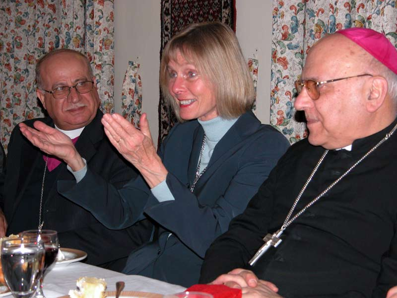 While on a five-day trip to Israel and the Palestinian territories,  California Congresswoman Lois Capps -- an ELCA member-- expressed thanks for encouragement and hope for peace in the Middle East from Jerusalem Christian leaders. With Capps are, left, His Grace Rev. Riah Abu-Al-Asal, bishop of the Episcopal Diocese of Jerusalem and the Middle East, and right, His Beatitude Patriarch Michel Sabbah, Patriarch of the Latin Catholic Church in  Jerusalem.