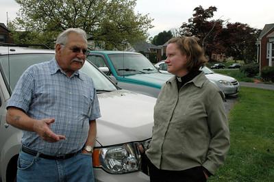 John Pollock, Chris Pollock's father, talks with Pastor Kathleen Baker at Good Shepherd Lutheran Church, Harrisburg (Paxtang), Pa.