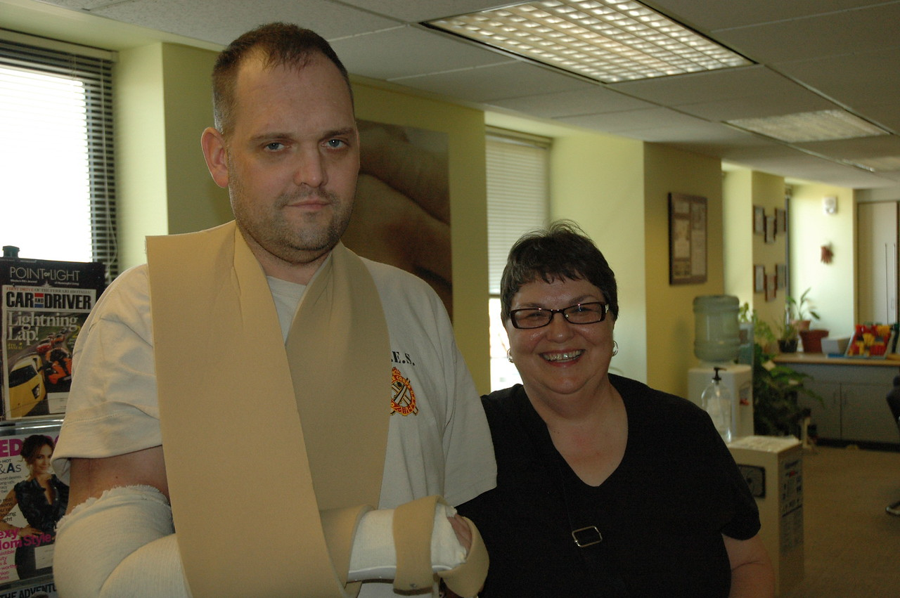 Chris Pollock has spent more than 3 months undergoing therapy at the University of Pittsburgh Medical Center.  With him is his aunt, Marie Mardula, one of a few family members who comes to stay with him while he's in Pittsburgh.