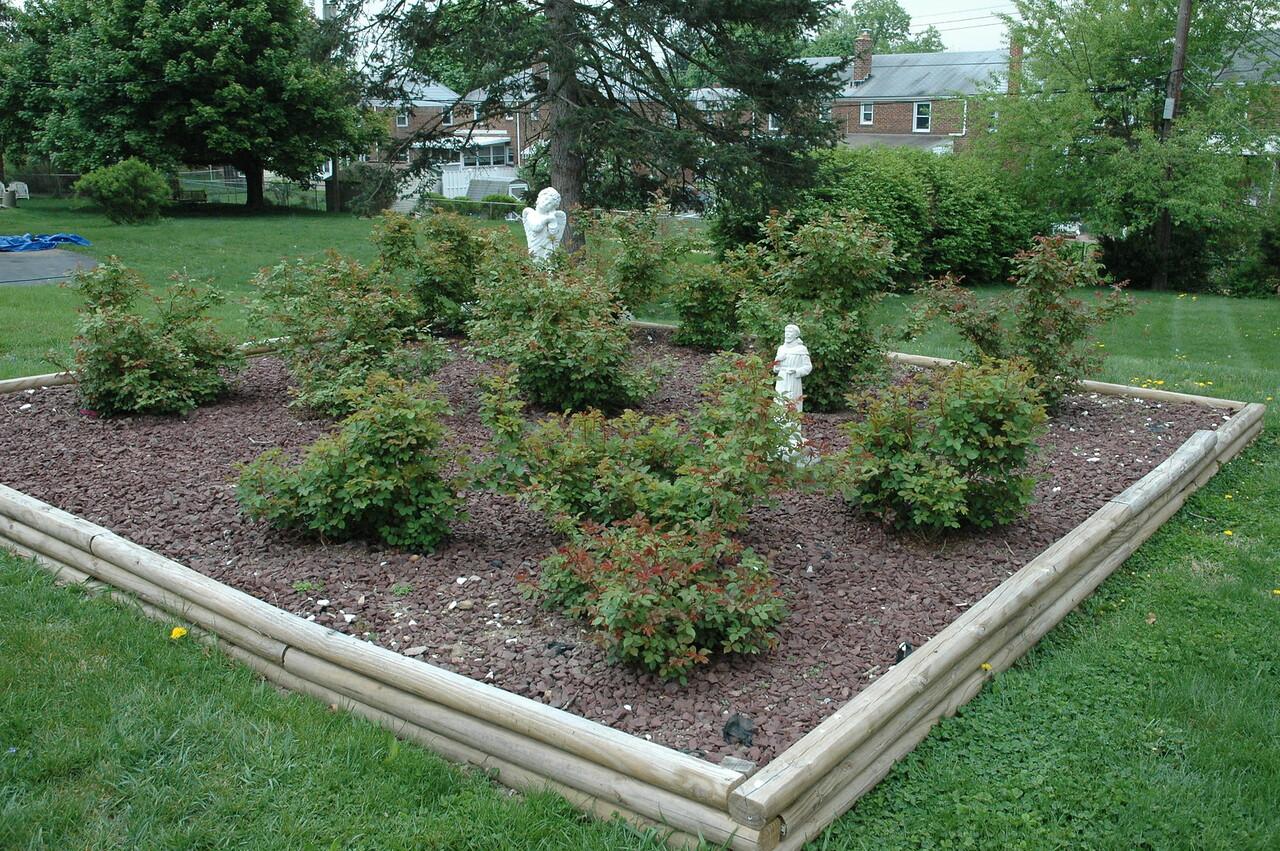 Chris Pollock and his father, John Pollock, built this rose garden next to the sanctuary at Good Shepherd Lutheran Church, Harrisburg (Paxtang), Pa.