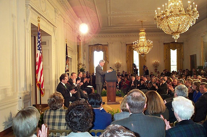 President Clinton addresses debt relief supporters at a ceremony in the East Room of the White House Nov. 6. Supporters included a large group of religious leaders, representatives of non-governmental organizations and labor unions, advocates for Africa and members of Congress.