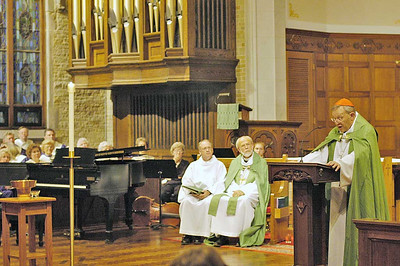 "Cardinal Walter Kasper, right, was guest preacher at a ""Solemn Evening Vespers"" service Oct. 1 at St. Luke's Lutheran Church, Park Ridge. Seated, from left, is the Rev. Michael L. Burk, ELCA director for worship, and the Rev. Mark S. Hanson, ELCA presiding bishop, both of Chicago. ELCA bishops from throughout the United States and Caribbean, ELCA vice presidents and ELCA seminary presidents attended the special event, held in recognition of the fifth anniversary of the signing of the Joint Declaration on Doctrine of Justification in Augsburg, Germany. The Joint Declaration is a significant international theological agreement between Lutherans and Catholics. (Photo by Mike Watson, The Lutheran magazine)"