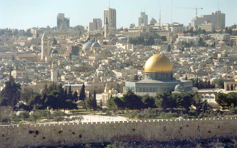 From the Mount of Olives, visitors can see a view of Jerusalem's Old City.