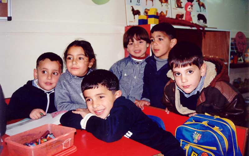 These are students in a kindergarten class at the Lutheran Church of Hope School, Ramallah, West Bank.