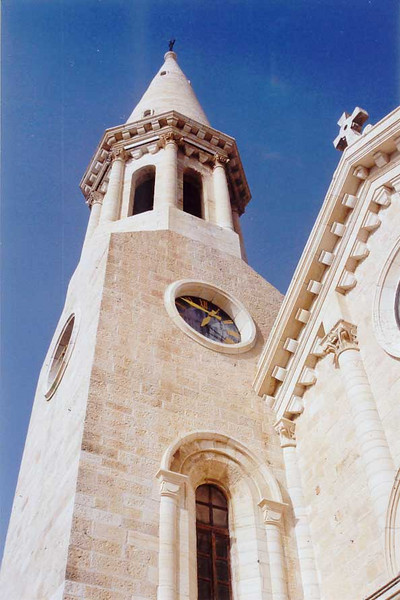 The tower of Christmas Lutheran Church, Bethlehem.