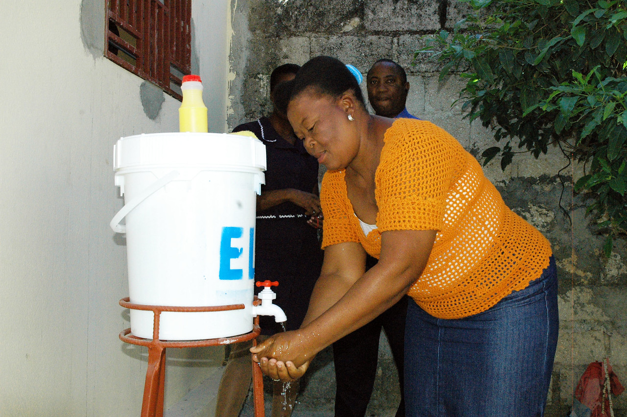 Washing hands is one of the first lines of defense in preventing the spread of cholera.