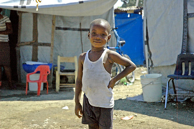 About 375 families live in what was once a football stadium but now is home for internally displaced people in Leogane, Haiti.