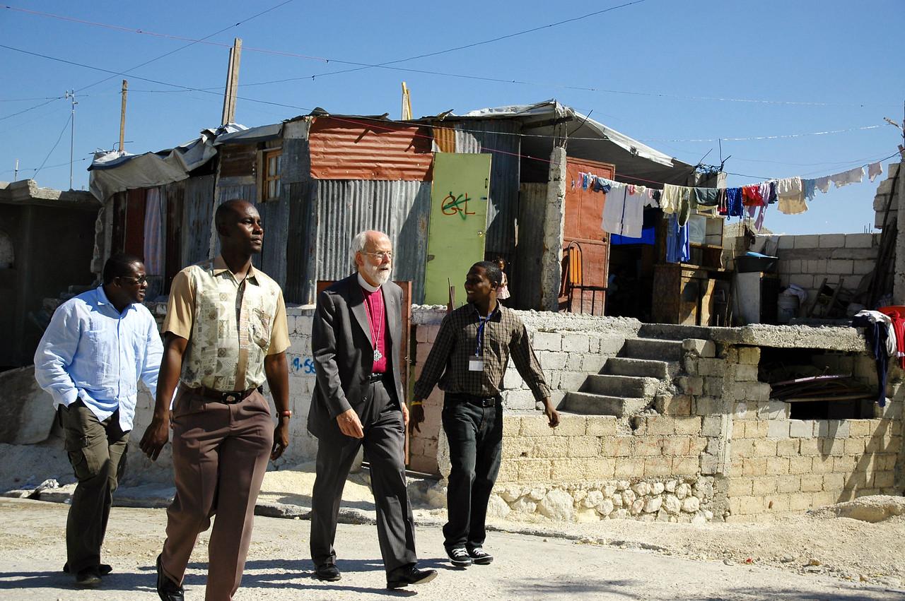 ELCA Presiding Bishop Mark Hanson visits several camps for internally displaced people in Haiti.