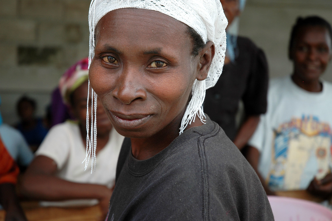More than 200 women separate each bean by size at the coffee cooperative in Thiotte, Haiti.