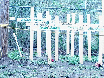 More than a dozen crosses have been assembled near the entrance to Camp Garcia.  David Sanes, a citizen of Puerto Rico working as a guard for the U.S. Navy, was killed in a bombing accident on Vieques in April 1999.