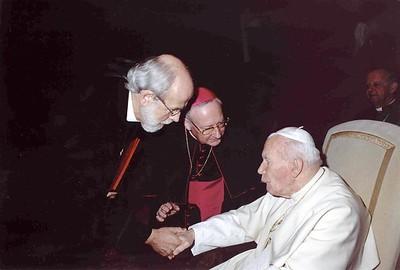 ELCA Presiding Bishop Mark S. Hanson greets Pope John Paul II at a meeting at The Vatican March 24.