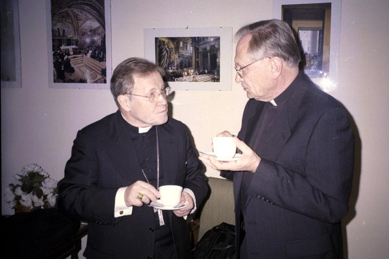 Cardinal Walter Kasper [left] president of the Pontifical Council for the Promotion of Christian Unity, meets with Rev. Jon Enslin, associate director, ELCA Department for Ecumenical Affairs, in Rome.