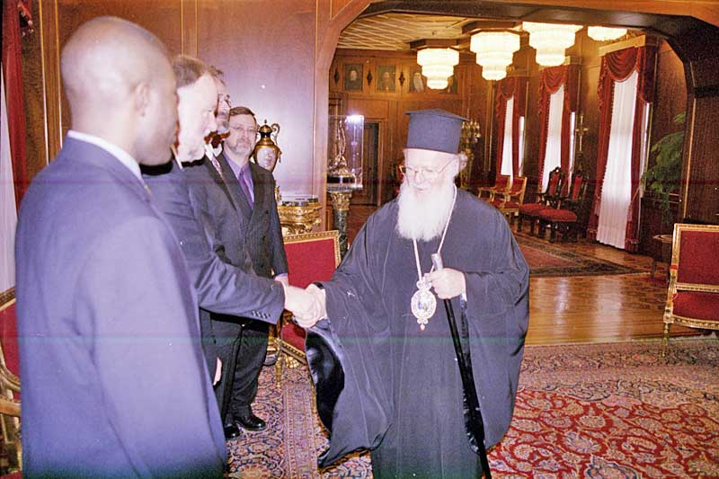 His All Holiness Ecumenical Patriarch Bartholomew greets the joint ELCA-LWF delegation at the start of the audience Jan. 28 in Istanbul.