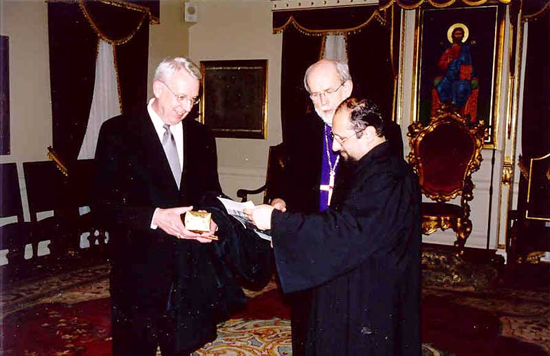"""Bishop Hanson presented His All Holiness Ecumenical Patriarch Bartholomew with a copy of the ELCA's social statement on the environment, """"Caring for Creation: Vision, Hope, and Justice."""" Bartholomew is known to many as the """"Green Patriarch"""" because of his concern for care of the environment."""