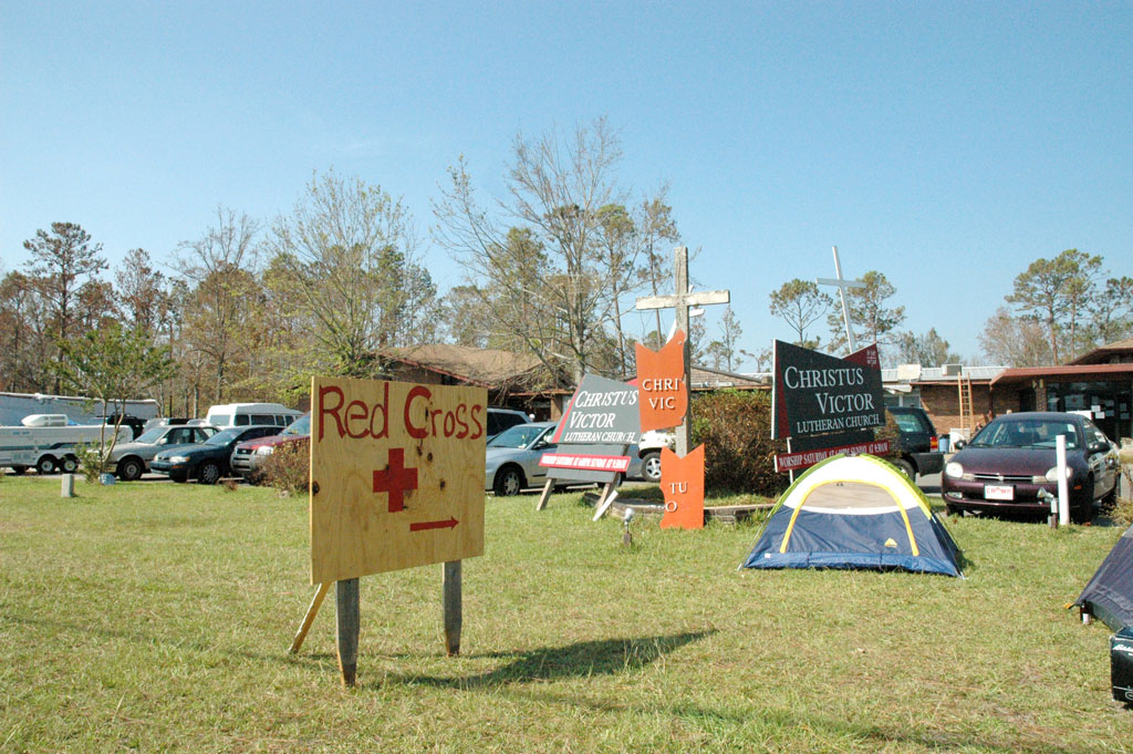 Christus Victor Lutheran Church, Ocean Springs, Miss., has become a 24-hour health clinic, shelter, food and supply distributor and intake center for the Red Cross.