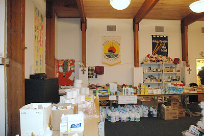 Fellowship Hall at Bethel Lutheran Church, Biloxi, Miss., is now a food and supply distribution center serving survivors of Hurricane Katrina.