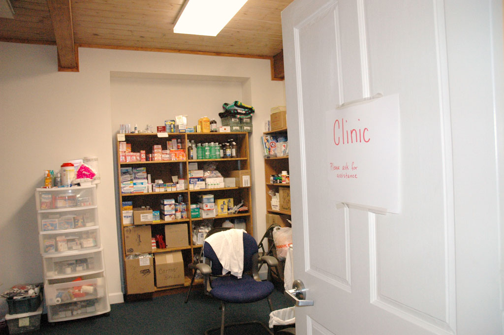 Library turned health clinic at Bethel Lutheran Church, Biloxi, Miss.