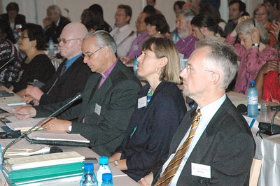 The Rev. Barbara Rossing, second from right, is an ELCA pastor, faculty member at Lutheran School of Theology at Chicago and Lutheran World Federation (LWF) Council member.  At right is Peter Stoll, LWF treasurer.  Left of Rossing is Bishop Christoph Klein, Evangelical Church of the Augsburg Confession in Romania and LWF Council member.