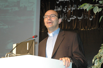 The Rev. Mitri Raheb, pastor of the Christmas Lutheran Church, Bethlehem, addressed the Lutheran World Federation Council meeting Sept. 1.  The International Center of Bethlehem, which shares space with the congregation, was the site of most of the council meeting.  Some meetings were held in Jerusalem.