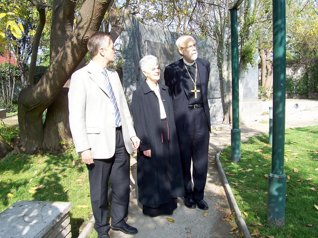 """The Rev. Mark S. Hanson (far left), LWF president and ELCA presiding bishop, his wife, Ione Hanson, and the Rev. Martin Junge (right), LWF area secretary for Latin America and Caribbean, visit """"El Parque por la Paz Villa Grimaldi"""" in Chile."""