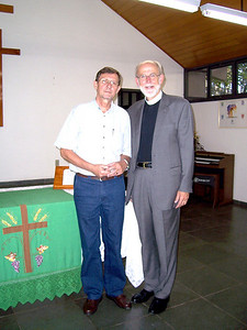 The Rev. Helmar Reinhard Roelke (right), synod pastor, Sinodo Espirito Santo a Belém, Vitoria, Brazil, and met Oct. 10 with the Rev. Mark S. Hanson, LWF president and ELCA presiding bishop.