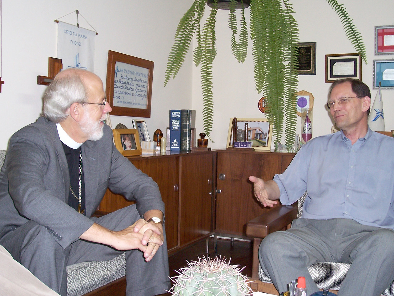 The Rev. Mark S. Hanson (left), LWF president and ELCA presiding bishop, met Oct. 13 with the Rev. Carlos Walter Winterle, president of the Igreja Evangélica Luterana do Brasil (Evangelical Lutheran Church of Brazil) -- a fellowship of the Lutheran Church-Missouri Synod.