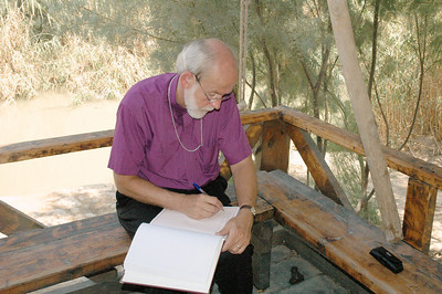 Mark Hanson, ELCA presiding bishop and Lutheran World Federation (LWF) president, signs a guestbook at a recently excavated site which is said to be the baptismal site of Jesus.  The site is located on the east side of the Jordan River at a recently excavated site which is said to be the baptismal site of Jesus.  Hanson visited the site Aug. 29 on his way to the LWF Council meeting Aug. 31-Sept. 6 in Bethlehem.