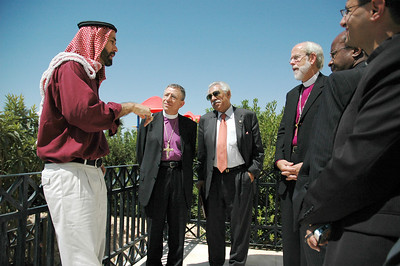 His Royal Highness Prince Ghazi, personal envoy and special advisor to Jordan's King Abdullah, hosted leaders of the Lutheran World Federation (LWF) Aug. 28 at his home in Amman.  With the prince are, from left, Bishop Munib Younan, Evangelical Lutheran Church in Jordan and the Holy Land and LWF vice president; Akel Biltaji, advisor to His Majesty the King, and Bishop Mark Hanson, ELCA presiding bishop and LWF president.