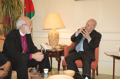Bishop Mark Hanson, ELCA presiding bishop and Lutheran World Federation (LWF) president, left, met with Jordan's Prime Minister Adnan Badran Aug. 28 in Amman. Badran told Hanson and other LWF leaders of Jordan's need to educate its children to respect differences in ideologies, religions and cultures.  Hanson and other LWF leaders visited Jordan prior to the start of the Aug. 31-Sept. 6 LWF Council meeting in Bethlehem.