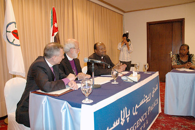 Bishop Mark Hanson, ELCA presiding bishop and Lutheran World Federation president, center, responds to questions at a news conference Aug. 27 in Amman, Jordan.  With Hanson are, left, Bishop Munib Younan, Evangelical Lutheran Church in Jordan and the Holy Land and LWF vice president, and right, LWF General Secretary Dr. Ishmael Noko.  The three visited Jordan prior to the LWF Council meeting in Bethlehem, West Bank, Aug. 31-Sept. 6.