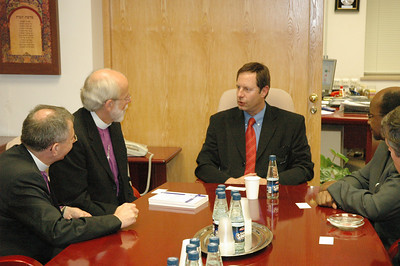 Israel's Minister of the Interior, Ophir Paz-Pines, seated at head of table, hosted LWF leaders at a brief meeting at his offices Sept. 5 in Jerusalem.  With Paz-Pines are, from left, Bishop Munib Younan, LWF vice president and ELCA Presiding Bishop and LWF President Mark Hanson.  The LWF leaders visited a variety of Israeli and Palestinian political leaders in the region during the LWF Council meeting in Jerusalem and Bethlehem Aug. 31-Sept. 6.
