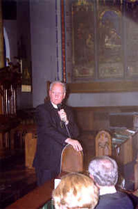 The Rev. H. George Anderson, ELCA presiding bishop, addresses pastors who met at Holy Trinity Lutheran Church, New York.  With Anderson in this forum was the Rev. Gerald B. Kieschnick, president of the Lutheran Church-Missouri Synod.