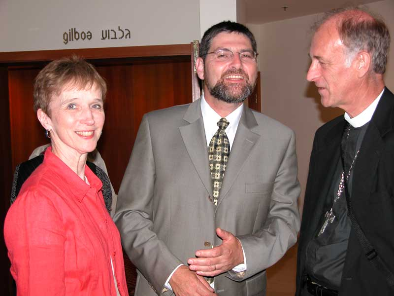 Rabbi Ehud Bandel, President of the Masorti Movement in Israel, shares a story with Bishop Floyd and Betty Schoenals after a gathering in Jerusalem. Rev. Schoenals is the bishop of the ELCA Arkansas-Oklahoma Synod.