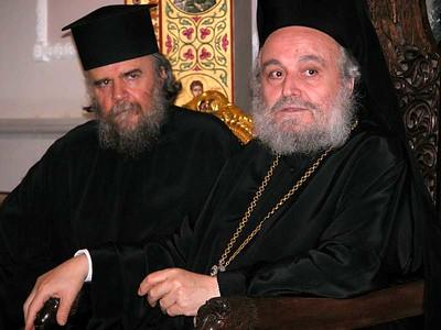 His Beatitude Ireneus I, Greek Orthodox Patriarch of Jerusalem (right), spoke with the ELCA delegation as H.E. Metropolitan Aristarchos translated.